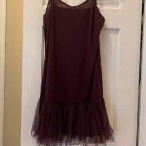 Maroon, tank top dress with a tulle bottom